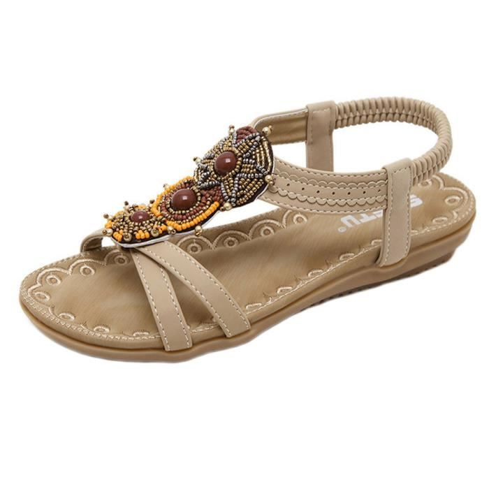 Les femmes bohe Fashion Flat grande taille sandales Casual Beach chaussures XWx6pg