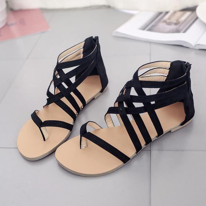 deuxsuns®Femmes Bohème Sandales plates Chaussures Gladiator Flops Strap Flip Toe Chaussures 0VTbX