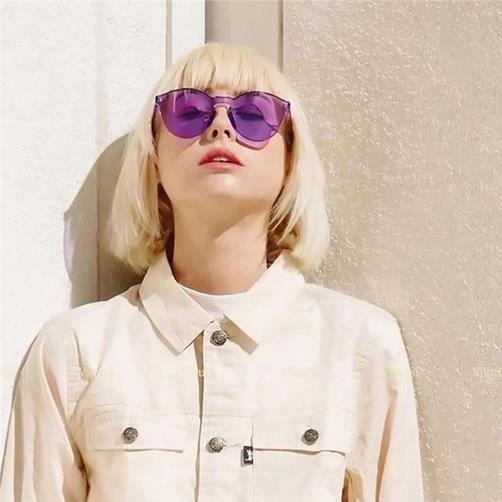 Couleur bonbons Transparent Lunettes de soleil pour hommes et femmes, Violet