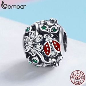 Charm's BAMOER Charms Argent  925 Mode Rouge Coccinelle Fl