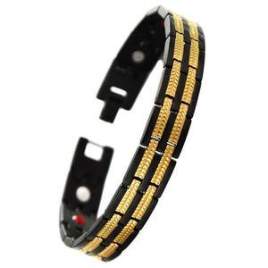 BRACELET - GOURMETTE Bracelet dragon viking acier magnetique plaque or