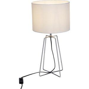 LAMPE A POSER Lampe contemporaine GRIGORY blanche en métal chrom