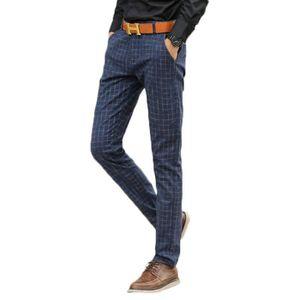 PANTALON Pantalon Homme slim Droit Pantalon Hommes rayé Vêt ...