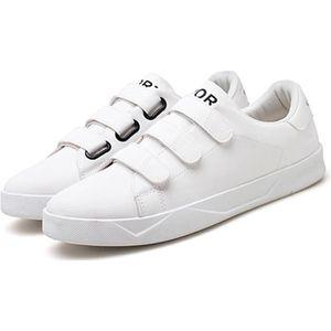 SKATESHOES Baskets Homme Chaussures Blanches Velcro Pour étud 949b03e9b42d