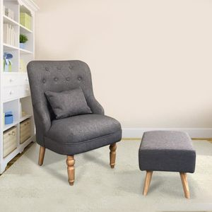 FAUTEUIL OUTAD Fauteuil Relax tissu avec repos-pied-Gris an
