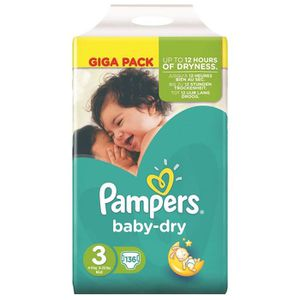 COUCHE Pampers Baby Dry Taille 3 Giga Pack 136 couches