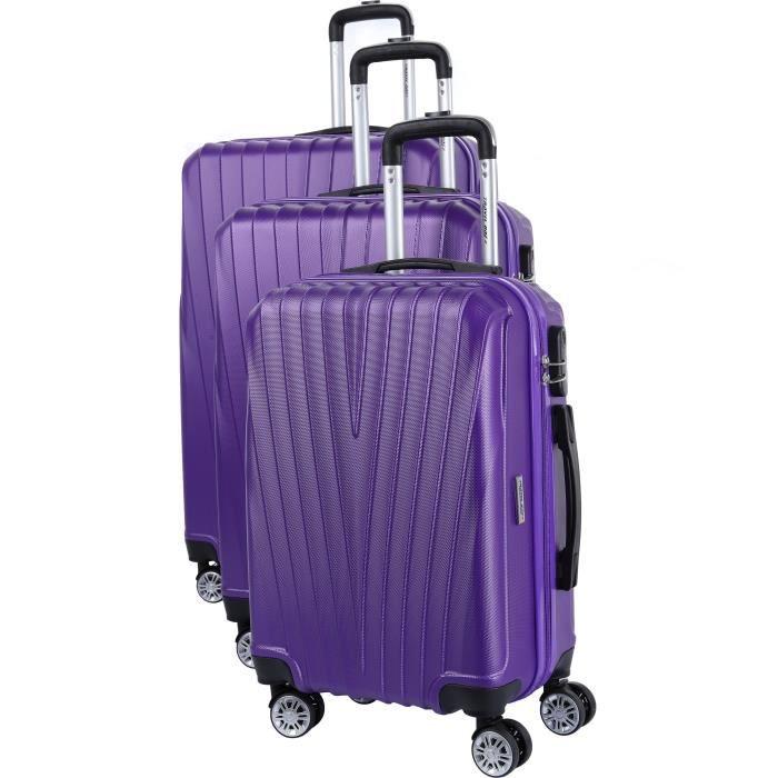 ELSON Set de 3 Valises 8 roues S/M/L Violet