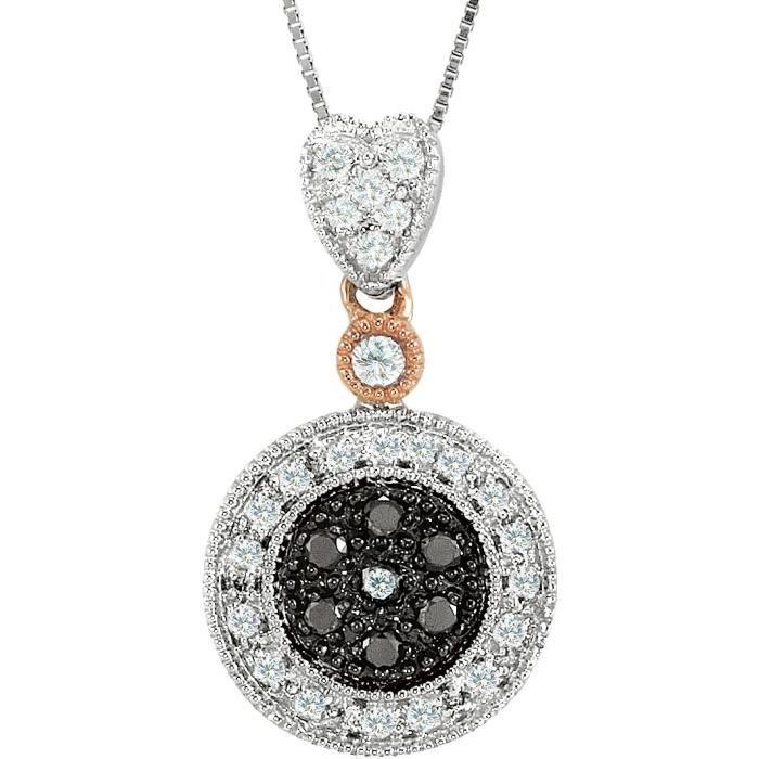 14 carats Bicolore Noir et blanc-collier de diamants bruts 1/4 carat