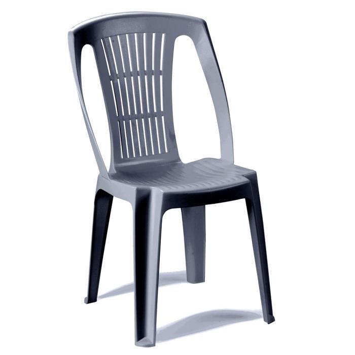 Lot 16 chaises jardin plastique gris empilables Cater
