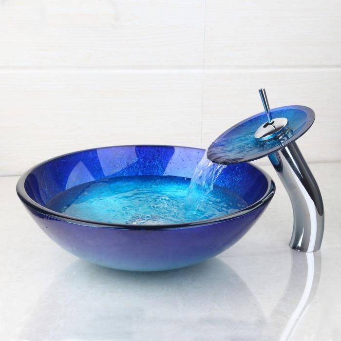 Salle de bains en verre trempé Lavabo Lavabo Lavabo & Chrome ...