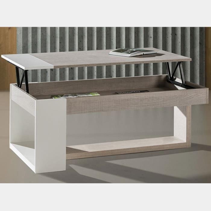 Table salon relevable couleur bois clair et blanc CANNES