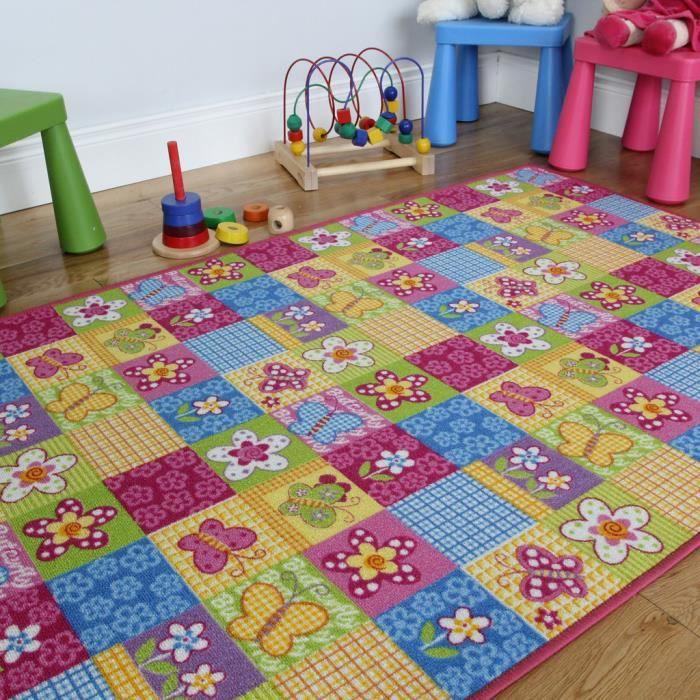 Tapis rose patchwork pour chambre fille Motif papillons 100x150cm