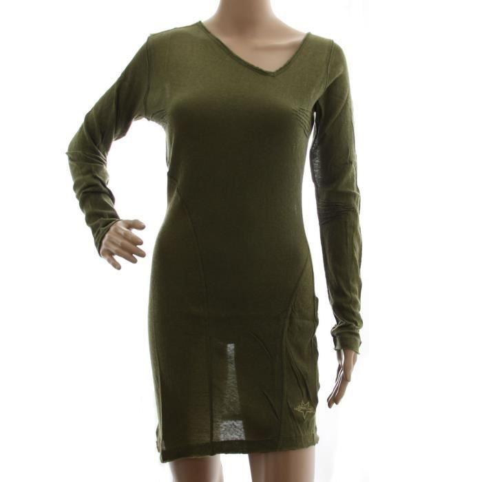 DIESEL robe en maille légère manches longues DHEMA vert kaki