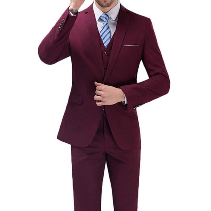 Costume Homme Mode seul bouton costumes 3 pièce... vin rouge - Achat ... 8d72255de1f