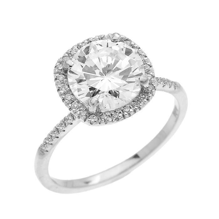 Bague Femme Diamant Coussin Forme Et Oxyde De Zirconium Centre Pierre Solitaire 14 Ct Or Blanc Micro Pave