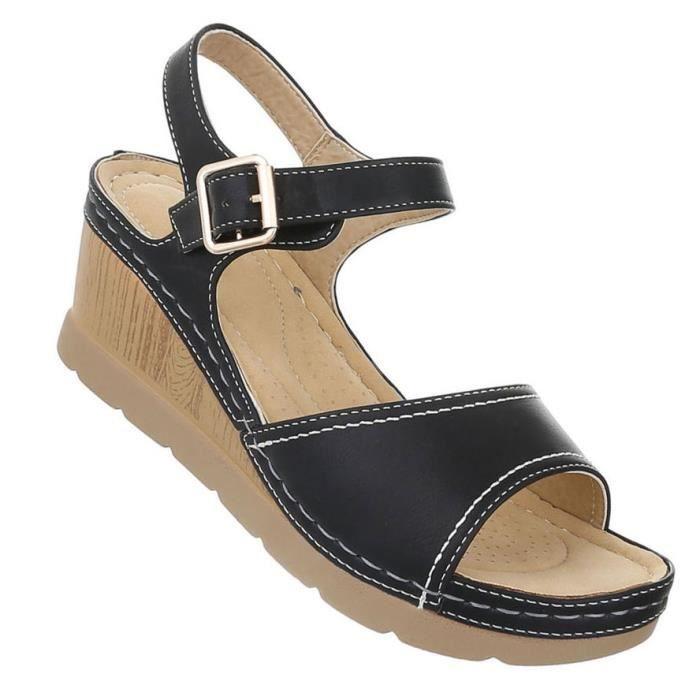 Femme sandales chaussures High Heels semelle compensée escarpin noir 41