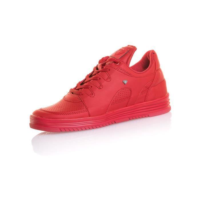 Basket fashion homme rouge grande languette QlgwV6