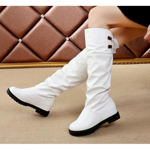 Mode Femmes d'hiver Chaussures talon plat solide couleur Bottes long genou Pointu Toe Bottes en cuir haut femme fille Brochage