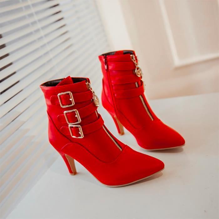 Chaussures Femmes - Bottine RougeT44