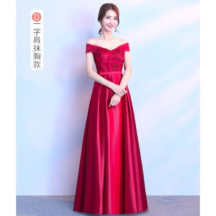 Robe Soirée longue en Satin Satiné Chic Femmes Fille Pour Cérémonie Mariage  Cocktail Anniversaire Gala Rouge WK770