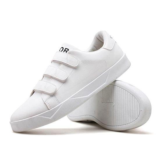 Blanches Chaussures Velcro Vente Blanc Pour Homme Baskets Étudiants TFwHx