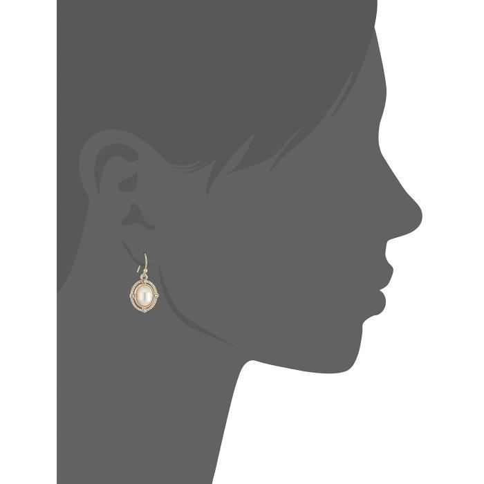 1928 Jewelry Gold-tone Simulated Pearl And Crystal Accent Oval Drop Earrings COJMU
