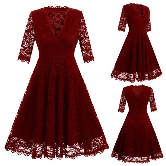 Femmes Floral Lace V-Neck Vintage Lady Party robe de demoiselle dhonneur formelle@Bourgogne