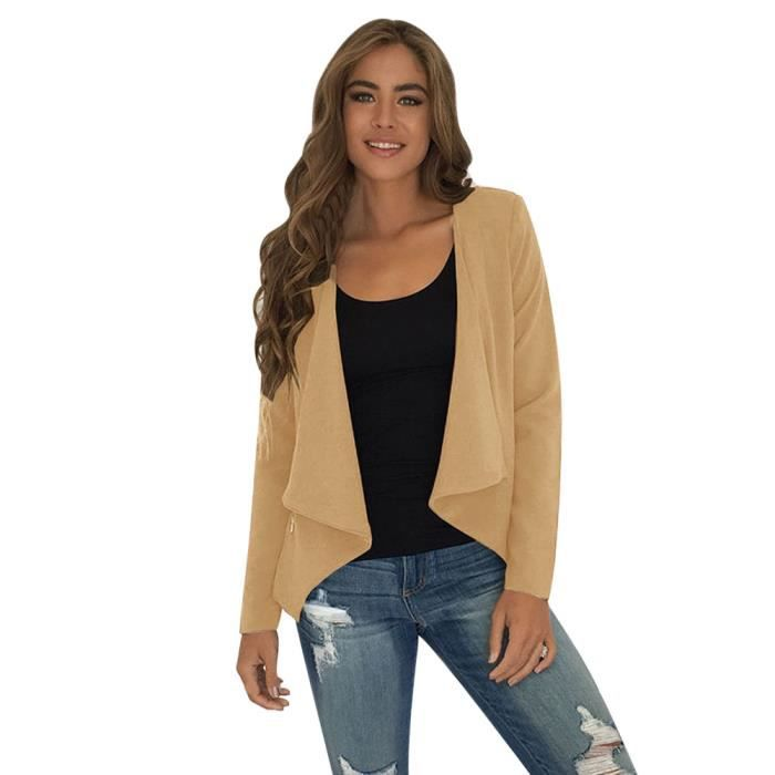 Top Yhl70907181kh Manches Loose Dames Exquisgift Waterfall Kaki Outwear Tops Veste Cardigan Longues Femmes EPz4qv