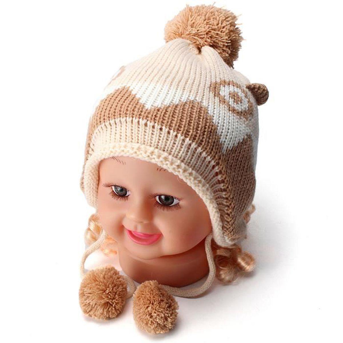 Bébé Bonnet Tricot Chaud Hiver Crochet Cache-oreilles Pompon Mignon  Crème+Kaki 874a8b480d1