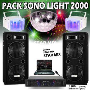PACK SONO PACK SONO 2000 + 3 JEUX DE LUMIERE - 2 ENCEINTES 1