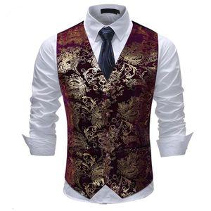 Gilet de costume sans manche homme marque luxe rouge doré couleur coupe  slim gilet 842c82756d1