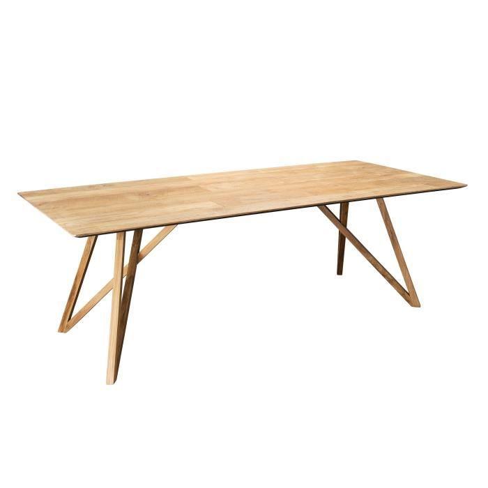 Table à manger - Teck recyclé pieds croisés marron - L 220...