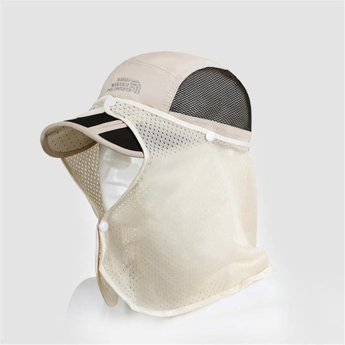 Chapeau de soleil Casquette en plein air pliable Anti-UV Respirant Séchage Rapide Protège-nuque - Beige