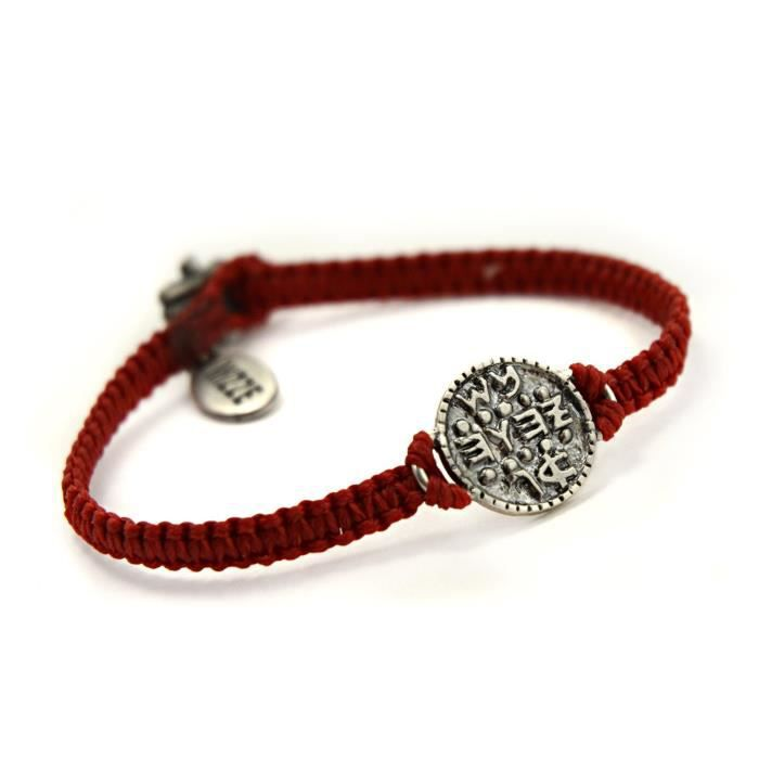 Womens Solomon Seal Wishes Amulet On Hand Woven Red Charm Bracelet XMEYQ