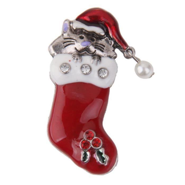 nouveau style cb1a1 f328f Broches en forme d'un chat en botte de Noel Bijoux de Noel Broche de Noel  pour les femmes Cadeau de Noel - Argent + rouge