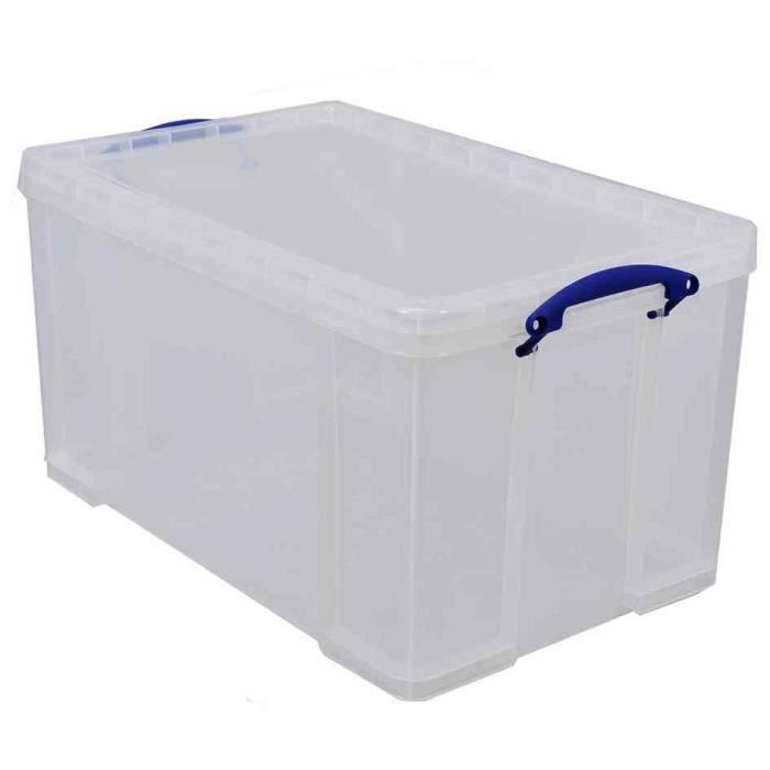 bo te plastique 84 l transparent incolore recyc achat vente boite de rangement plastique. Black Bedroom Furniture Sets. Home Design Ideas