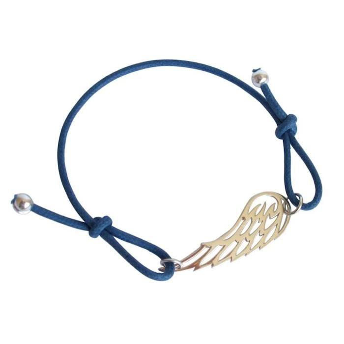 Gemshine - Dames - Bracelet - Nœuds AILES - 925 Argent - Bleu - Taille réglable