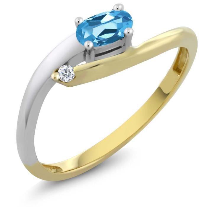 Bague Or Blanc et Jaune 18k - Topaze bleu Suisse ovale et Diamant - 0.32 ct
