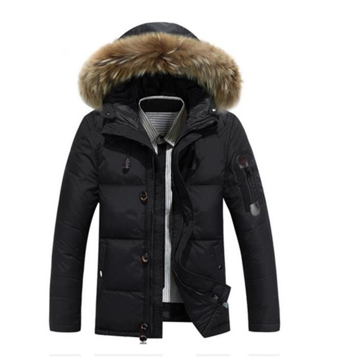 doudoune homme avec capuche fourrure courte grande taille m 3xl nouvelle collection hiver noir. Black Bedroom Furniture Sets. Home Design Ideas