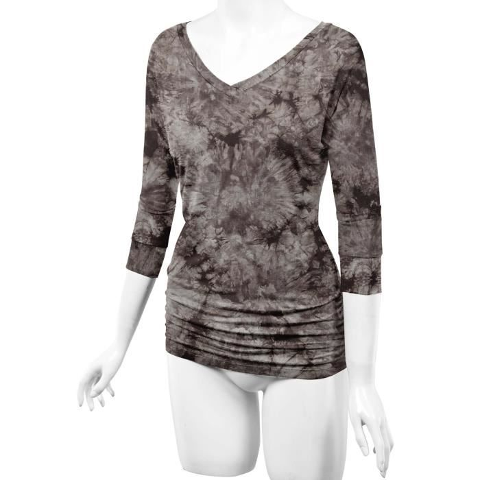 00a09cc0683 ... Top - Made In Usa. T-SHIRT Craze Ll Womens manches 3 4 Tie-Dye Ombre  Dolman T