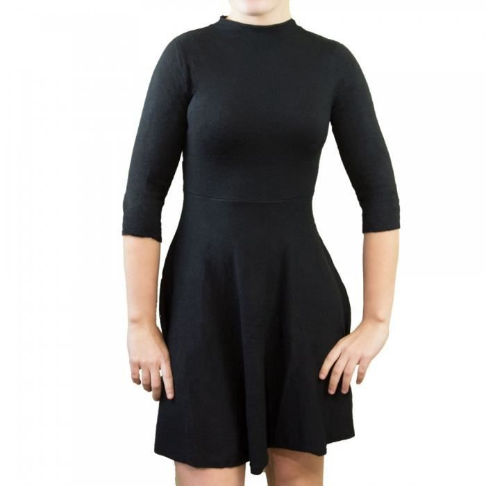 0ae635fe2fd7a Robe courte aspect laine pull manches 3 4 col montant-Taille unique ...