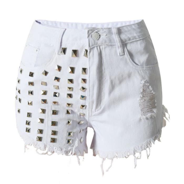 Vintage Jeans Trous Mode Shorts Stretch Rivet Femme Rétro Sexy XFvxgg