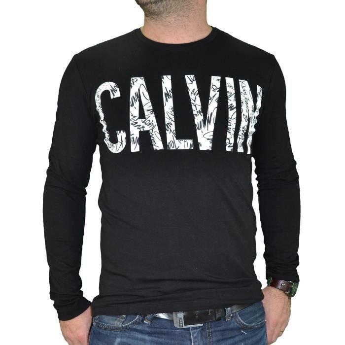 3439e9f062334 Calvin Klein - T Shirt Manches Longues - Homme - Jungle 304676 - Noir