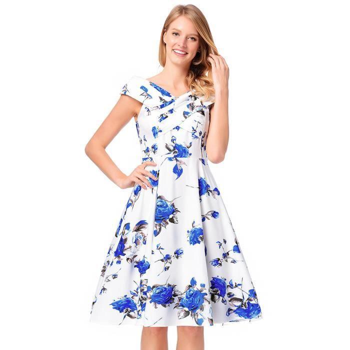 aaff456aee4 Jupe Femme Ete Longue Floral Noir Blanc Blue Sexy Le Genous Robe ...