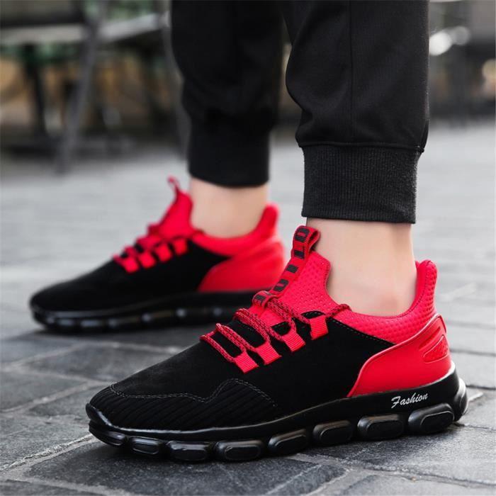 2018 Antidérapant Luxe Été Baskets rouge Respirant gris Résistantes Marque Chaussures Taille Sneakers À Homme De Grande L'usure Noir wnTqqXWI86