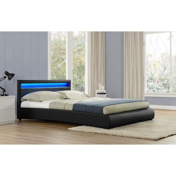Le Romantique Noir Cadre De Lit LED En Simili X Cm Achat - Cadre de lit simili cuir