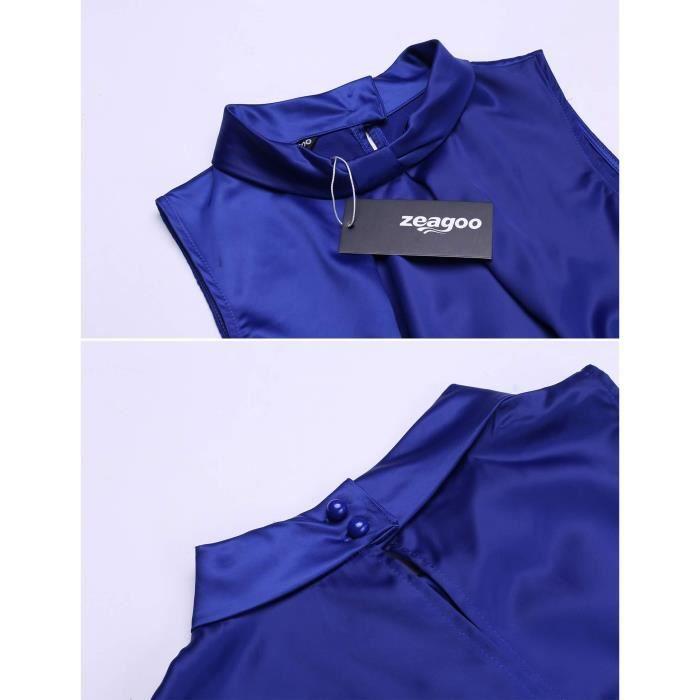 Robe a-line Femmes Casual Stand collier tirages sans manches Patchwork plissé