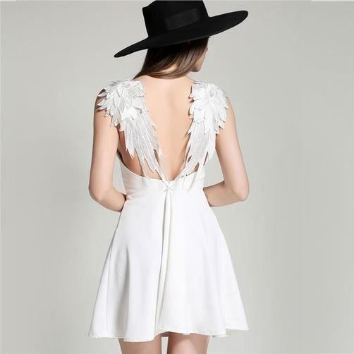 Fitibest col en V Robe sans manches pour les femmes, ailes Décoration, blanc