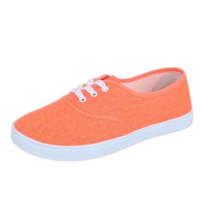 Chaussures femmes sneakers Derbies Basket Orange