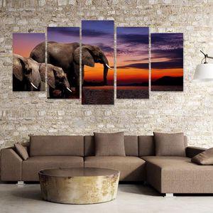 Elephants Dafrique Art Noir Blanc Animal Kingdom Sur Toile